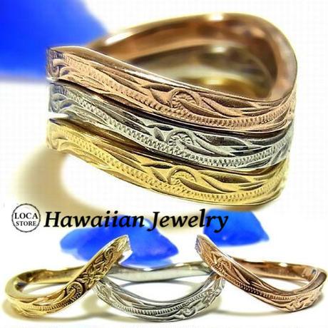 【ハワイアンジュエリー / HawaiianJewelry】 ステンレスリング/指輪 プリメリア カレイキニ スクロール (grs8534)