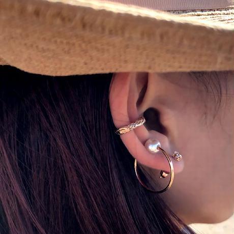 ハワイアンジュエリー イヤーカフ 片耳用 金属アレルギー対応 スクロール ホヌ ハワジュ サージカル ステンレス PVD インスタ ges8237