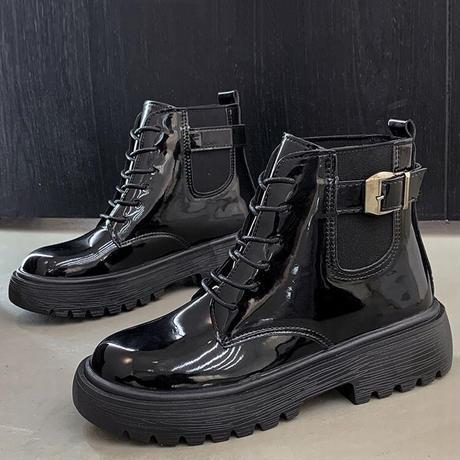 選べる光沢あり・なしの2タイプ ショートブーツ 厚底 シューレース ベルト バックル 韓国ファッション レディース ブーツ 大人可愛い ガーリー DTC-624158813946