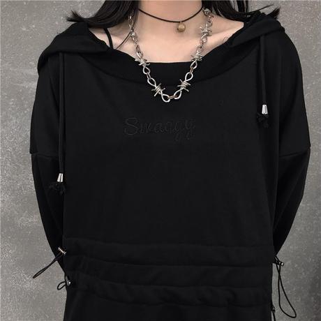 パーカーワンピース ウエストコード 刺繍 韓国ファッション レディース ワンピース ミニ丈 ゆったり ハイウエスト 長袖 大人可愛い ガーリー DTC-625440948860