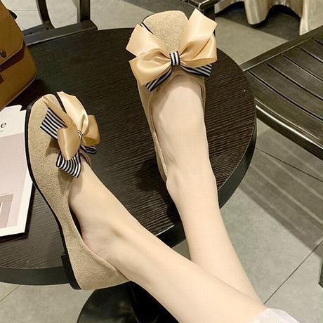 パンプス 大きいリボン フラットシューズ ぺたんこ 韓国ファッション レディース シンプル フラットパンプス シューズ スクエアトゥ キュート かわいい 601650506154
