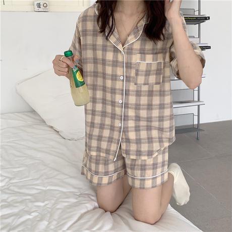 ルームウェア チェック柄 パジャマ セットアップ 半袖 ウエストゴム 韓国ファッション レディース 上下セット 部屋着 大人可愛い ガーリー DTC-642544567201