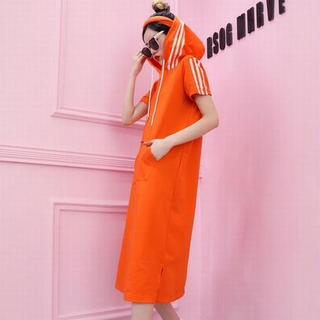 レディース サイドラインパーカーワンピース パーカー ワンピース フード ピンク/オレンジ/グリーン 韓国ファッション オルチャン (DCT-567270415970_a)