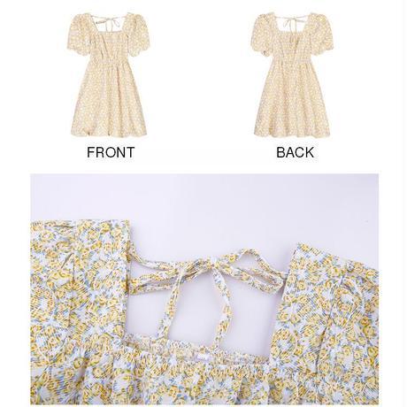 花柄 ワンピース スクエアネック ハイウエスト パフ袖 薄手 半袖 大人可愛い ガーリー フェミニン DTC-642548167490