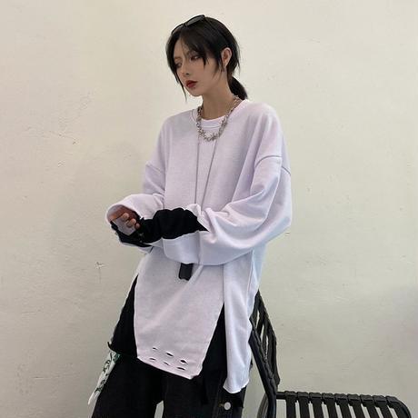 ユニセックス 長袖 Tシャツ メンズ レディース レイヤード風 裾ダメージ加工 ラウンドネック オーバーサイズ 大きいサイズ ストリート TBN-625479955275