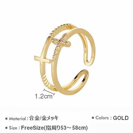 リング レディース ダブルクロス ゴールド 指輪 2連リング 合金 メッキ ビジュー フリーサイズ パーティー ジュエリー (DCT-571449187581)