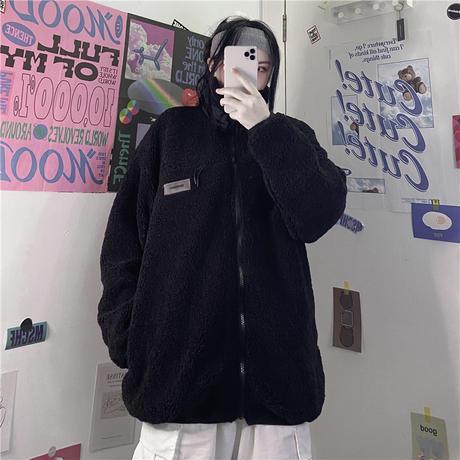 ユニセックス ボアブルゾン ジップアップ メンズ レディース ボアジャケット 厚手 ラムウール フリース オーバーサイズ 大きいサイズ ルーズ ストリート TBN-629390389918