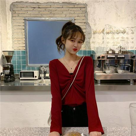 【トップス】 4カラー 長袖 ルーズ 韓国ファッション レディース Tシャツ Vネック 大人可愛い かわいい ガーリー 613845488299