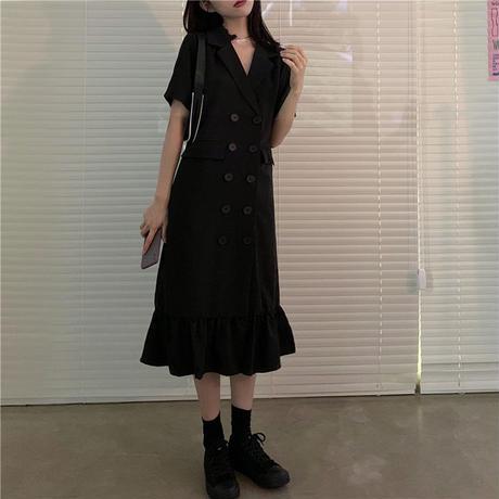 ジャケット風ワンピース マーメイドスカート ダブルブレスト 韓国ファッション レディース ワンピース フリル シャツワンピース 大人可愛い ガーリー DTC-620840809771