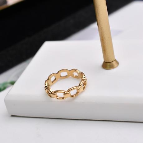 リング 指輪 チェーン 金属アレルギー対応 レディース イエローゴールド チタンスチール アクセサリー DTC-618552582578