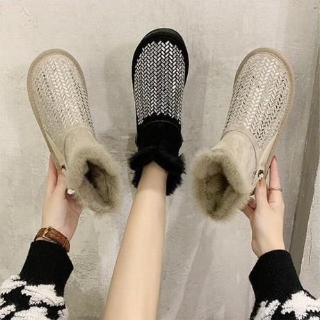 ムートンブーツ ファーブーツ ラインストーン 22.5~25.0cm 韓国ファッション レディース ファー ショートブーツ もこもこ 防寒 防水 カジュアル ガーリー 630731841770