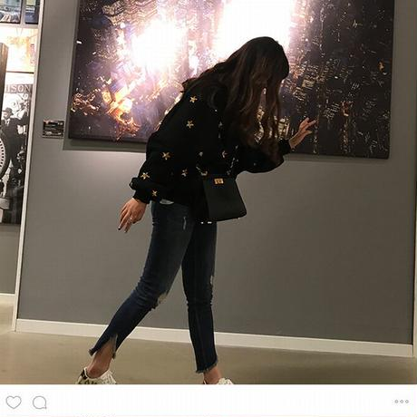 スウェット トレーナー キラキラ 韓国ファッション レディース 星 スター スパンコール 春 秋 冬 プルオーバー 大きいサイズ ボリューム袖 韓国 (DTC-574247927388)