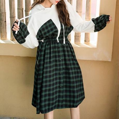 チェック柄 ワンピース 韓国ファッション レディース フェイクレイヤード フード ランタンスリーブ ウエストゴム ひざ丈 シンプル 春 秋 韓国 (DTC-587950595372)