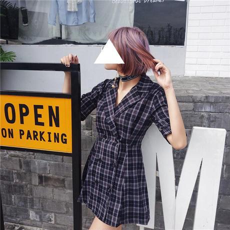 レディース チェック柄 ジャケット風 ワンピース ダブルボタン 半袖 シャツ Aライン ガーリー 韓国ファッション (DCT-552168019966)