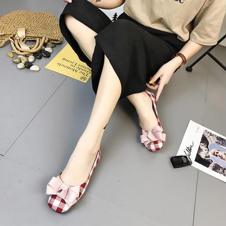 フラットパンプス チェック柄 リボン ラウンドトゥ 韓国ファッション レディース ぺたんこ パンプス バレエシューズ フラットシューズ キュート かわいい 歩きやすい 554411327409