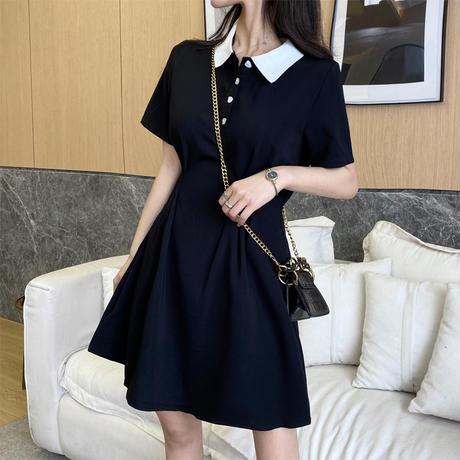 ポロワンピース ハート型ボタン 半袖 ショート丈 ハイウエスト Aライン 韓国ファッション レディース ワンピース POLO襟 大人可愛い ガーリー DTC-639791782708