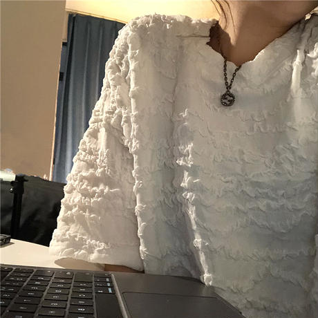 Tシャツ 凹凸 立体的 半袖 ゆったり 韓国ファッション レディース 半袖Tシャツ 大人可愛い カジュアル ストリートファッション DTC-641643271309