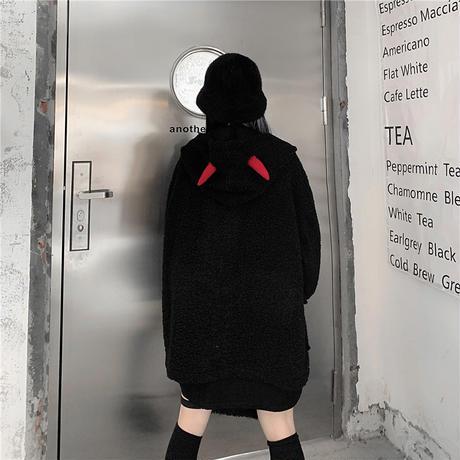 悪魔の角 フード ボアジャケット ボアブルゾン ラムウール 韓国ファッション レディース ボアパーカー ゆったり アウター 大人可愛い ガーリー DTC-630246238892