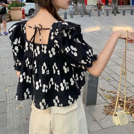 花柄 ブラウス スクエアネック パフ袖 半袖 薄手 韓国ファッション レディース ショート丈 レトロ 大人可愛い ガーリー フェミニンDTC-650462617328)