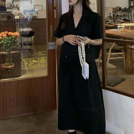 セットアップ ショートジャケット + ロングスカート 半袖 ハイウエスト 韓国ファッション レディース 上下セット ジャケット スカート 大人可愛い ガーリー DTC-647137554861