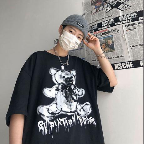 ユニセックス Tシャツ 半袖 メンズ レディース シンプル ダークベアー ダーククマちゃん オーバーサイズ 大きいサイズ ルーズ ストリート TBN-605083785949