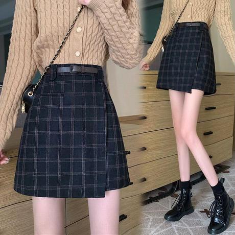 ベルト付き チェック柄 ウール混 Aラインスカート 韓国ファッション レディース 台形スカート スカート ミニスカート ハイウエスト 大人可愛い ガーリー DTC-628370824527