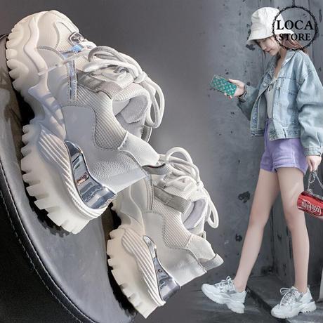 スニーカー レースアップ 厚底 韓国ファッション レディース ダットスニーカー ダッドシューズ スボーツ 通気性 歩きやすい カジュアル 624259531174