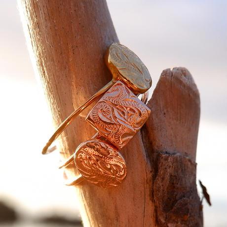 ハワイアンジュエリー リング スクエア 指輪 スクロール 波 メンズ レディース 金属アレルギー対応 ハワジュ サージカル ステンレス PVD インスタ grs8687