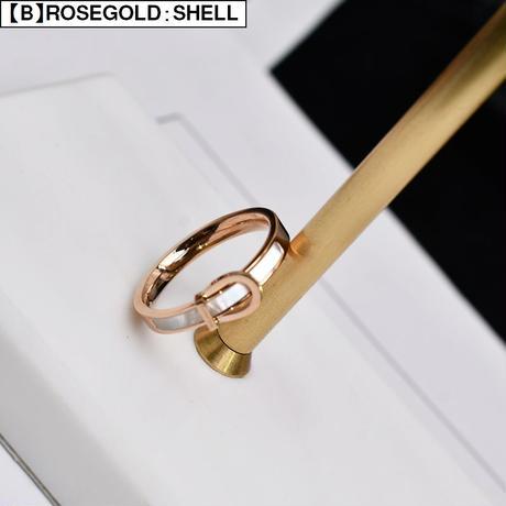 リング 指輪 ホワイトシェル CZ 金属アレルギー対応 バックルベルトモチーフ ジルコニア チタンスチール レディース ゴールド ローズゴールド アクセサリー DTC-605382038022