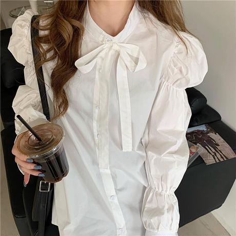 リボンタイ ブラウス 長袖 シフォン ボウタイ リボン 韓国ファッション レディース 大人可愛い ガーリー フェミニン DTC-651773180755