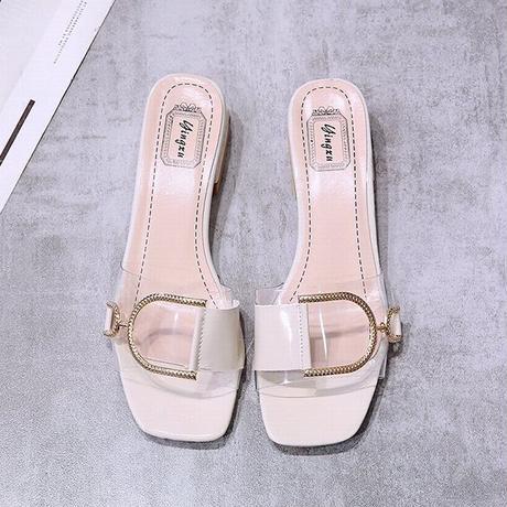 サンダル バックル スリッパ チャンキーヒール 4cm スクエアトゥ 韓国ファッション レディース 痛くない かわいい 靴 歩きやすい 614668048759