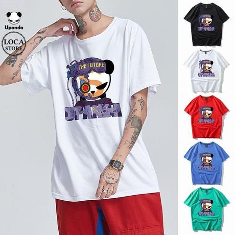 UPANDA 【5カラー】ユニセックス メンズ/レディース 半袖 Tシャツ FUTUREパンダ パンダプリント 人気 インスタ ストリート系 (DCT-599317171868)
