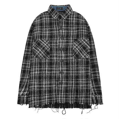 ユニセックス シャツ 長袖 メンズ レディース チェック柄 切りっぱなしデザイン オーバーサイズ 大きいサイズ ルーズ ストリート TBN-582527333818