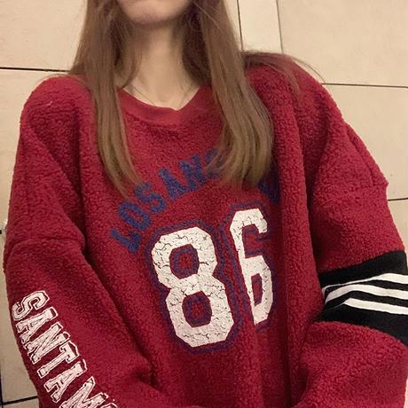 ボアトレーナー ボアトップス もこもこ イミテーションラムウール ルーズ 韓国ファッション レディース ボア ゆったり カジュアル ストリート系 ガーリー DTC-631557083791