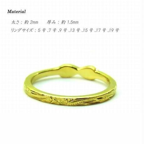 【ハワイアンジュエリー / HawaiianJewelry】 リング/指輪 イエローゴールド シルバー プルメリア スクロール インスタ (grs8609)