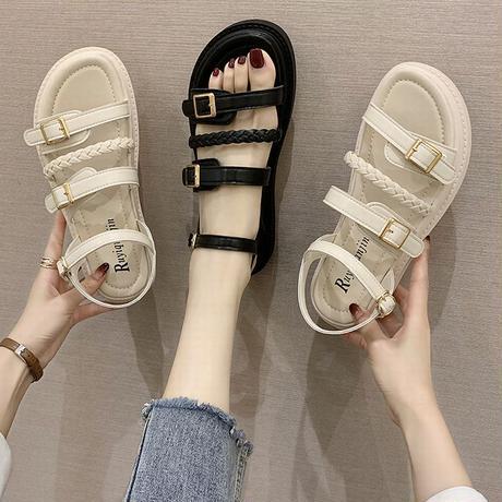 バックルストラップ サンダル 4cm 韓国ファッション レディースフラットサンダル ぺだんこサンダル キュート 痛くない かわいい 靴 歩きやすい 疲れない 620344151145