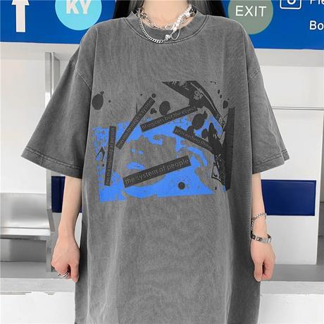 ユニセックス Tシャツ 半袖 幾何学 グラフィティプリント オーバーサイズ 韓国ファッション メンズ レディース トップス カジュアル ストリートファッション DTC-644775769961