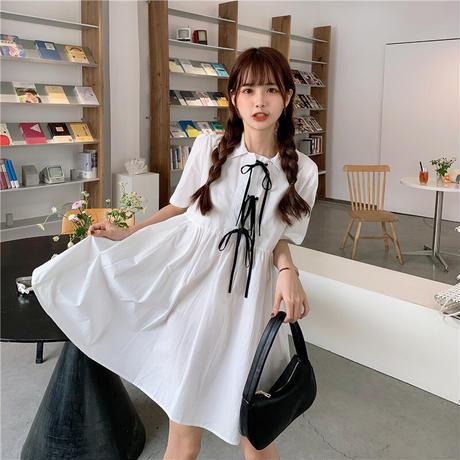 ワンピース 折り襟 半袖 無地 Aライン 韓国ファッション レディース ボウタイ リボン ハイウエスト 無地 フレア シンプル ガーリー DTC-619400829557