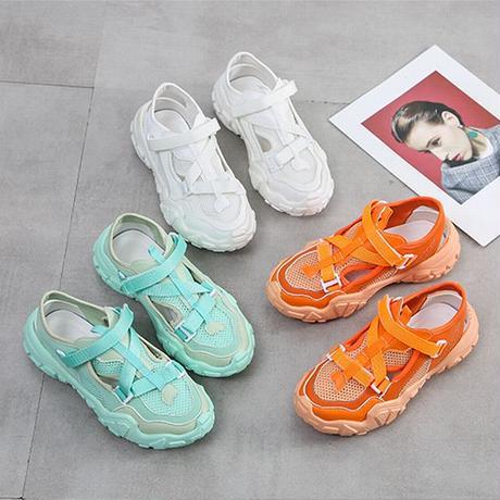 スポーツサンダル スポサン 6.0cm 厚底 韓国ファッション レディース サンダル ベルト マジックテープ フラットサンダル 厚底サンダル フラット かわいい 歩きやすい 617541475924