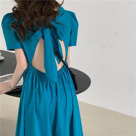ワンピース 背中開き 背中見せ ビッグリボン 半袖 パフ袖 ハイウエスト 韓国ファッション レディース ロングワンピース 大人可愛い ガーリー セクシー DTC-641603733478