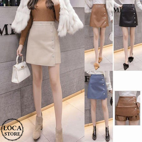 レディース フロントボタンラップ風フェイクレザー台形スカート 韓国ファッション オルチャン (DCT-577086274514)