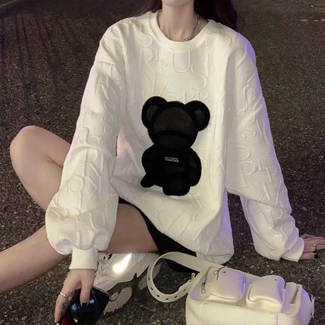 クマちゃん トレーナー ベアー オーバーサイズ 長袖 韓国ファッション レディース トップス ガーリー カジュアル ストリートファッション DTC-656631955825
