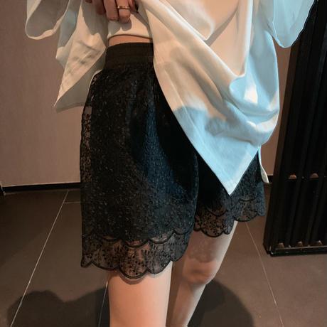カットワークレース ショートパンツ 薄手 韓国ファッション レディース ハイウエスト ショート丈 シンプル ガーリー