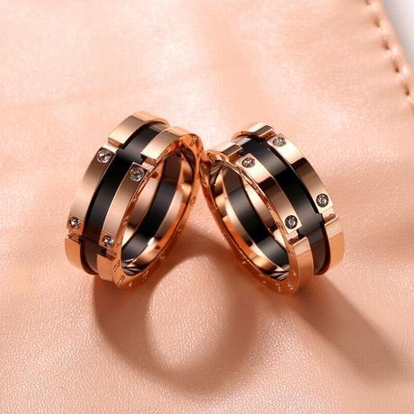 リング 指輪 金属アレルギー対応 韓国アクセサリー レディース メンズ ローズゴールド チタン DTC-559650724891