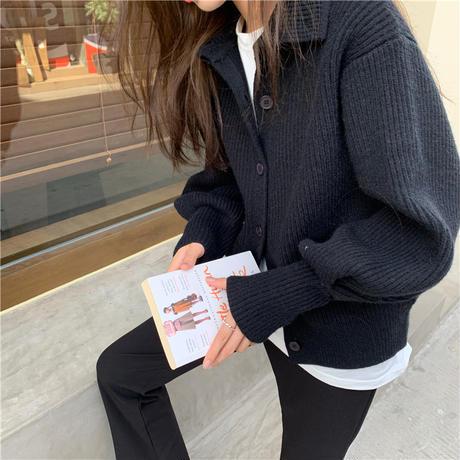 リブニット カーディガン ハイネック セーター ショート丈 リブ編み ルーズ アウター 韓国ファッション レディース レトロ 大人可愛い ガーリー DTC-655657524056