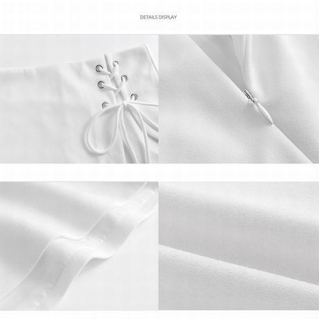 スカート風 ショートパンツ レースアップ ラップパンツ ハイウエスト アシンメトリー 韓国ファッション レディース ショーパン 編み上げ 大人可愛い ガーリー DTC-642171286098