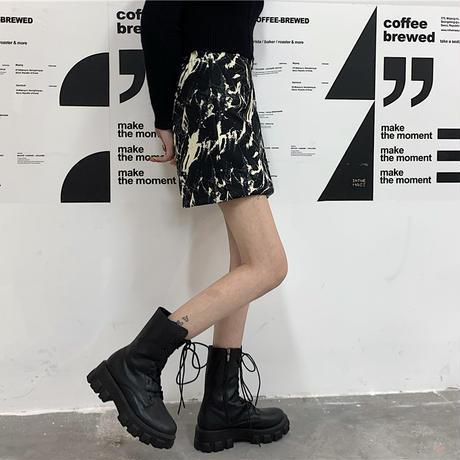 2点セット ミニスカート + ロングスカート タイダイ染め 台形スカート ハイウエスト 韓国ファッション レディース タイトスカート 大人可愛い ガーリー DTC-635660946074_S
