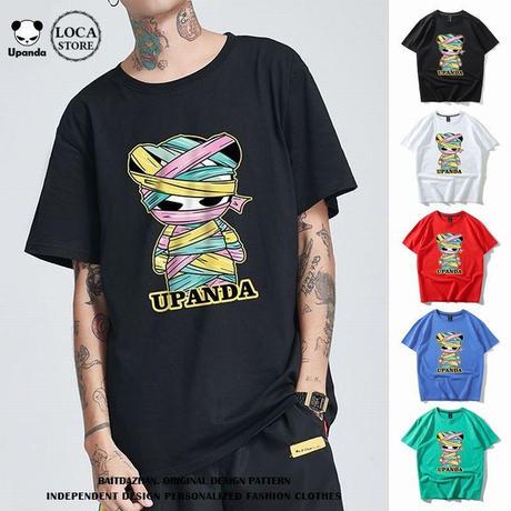 UPANDA 【5カラー】ユニセックス メンズ/レディース 半袖 Tシャツ カラフルミイラパンダ パンダプリント 人気 インスタ ストリート系 (DCT-597453646712_a)