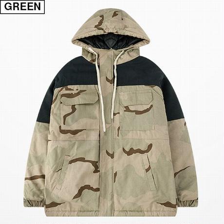 ユニセックス フード付き 迷彩 ジャケット アウター メンズ レディース コットンパッド オーバーサイズ 大きいサイズ ルーズ ストリート TBN-625962810296