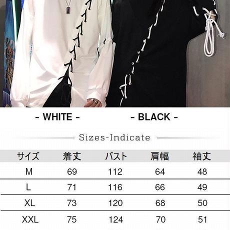 Tシャツ ユニセックス 長袖 ロンT ストラップ 韓国ファッション メンズ レディース オーバーサイズ ストリート モード カジュアル DTC-625187266479